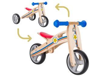 Bikestar balanscykel i trä 2 i 1